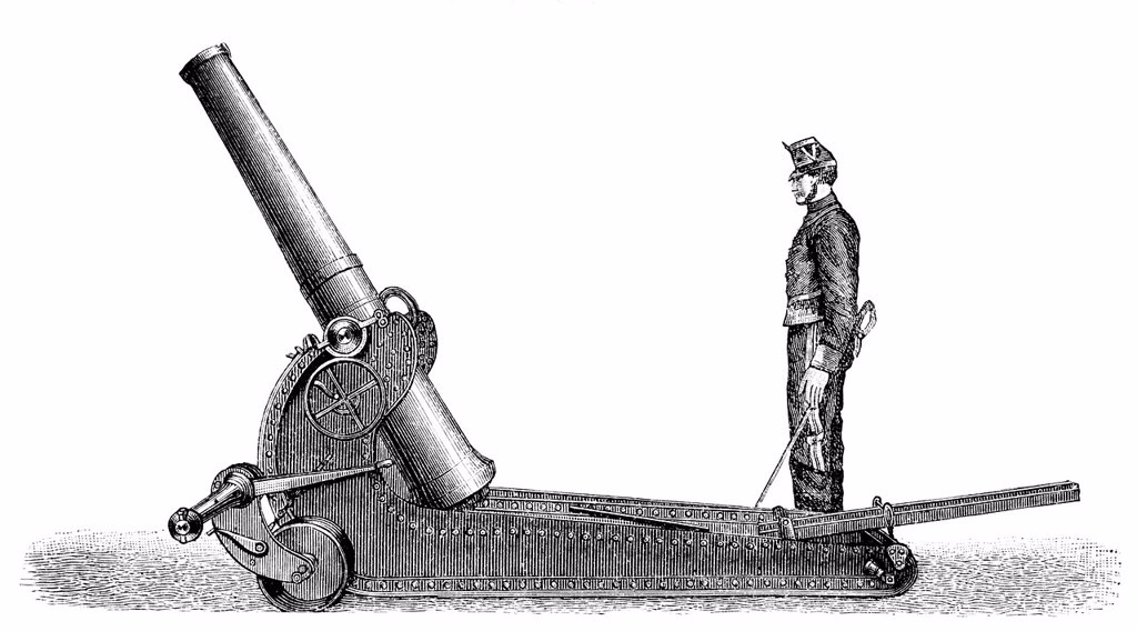 Stock Photo: 1848-722035 Historical illustration from the 19th Century, depiction of a French cannon