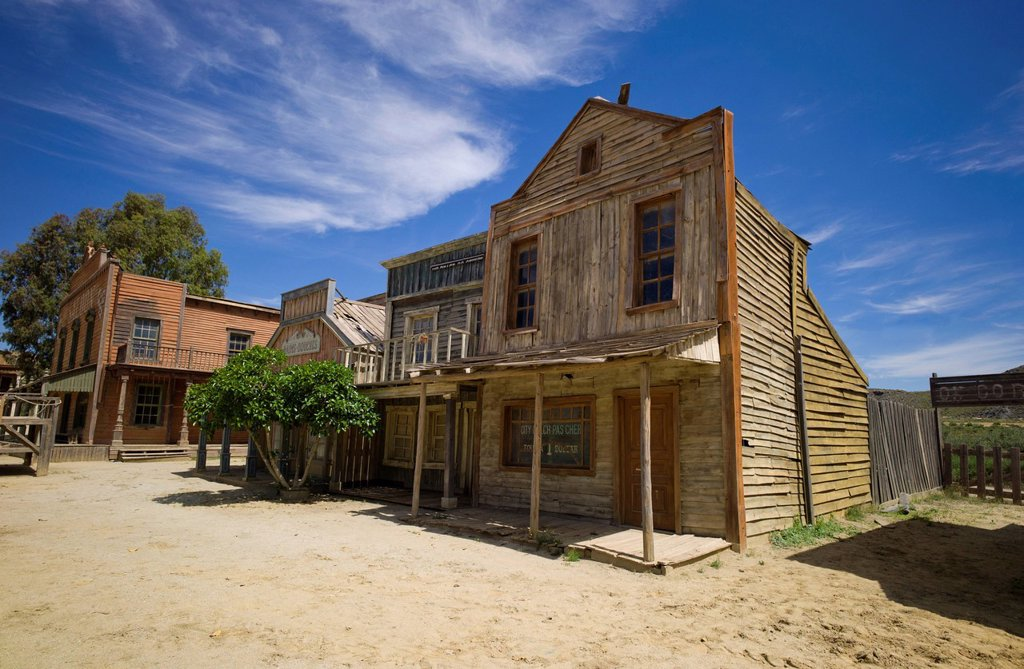 Fort Bravo, western town, former film set, now a tourist attraction, Tabernas, Andalusia, Spain, Europe : Stock Photo