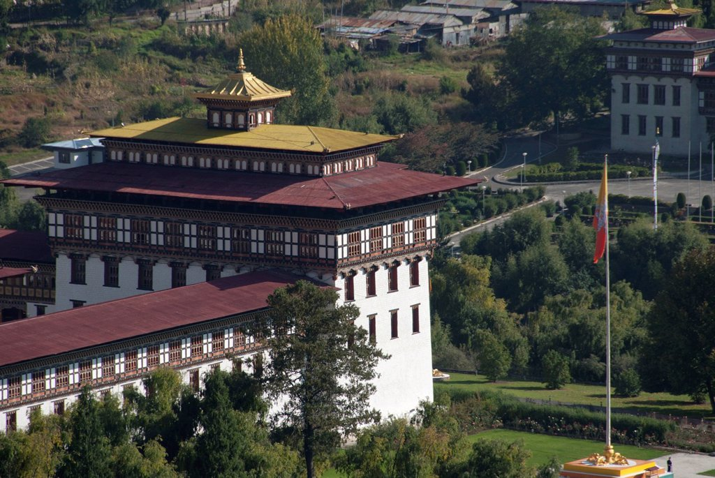 Stock Photo: 1848-722441 Fortress Monastery of Trashi Chhoe Dzong, seat of government, Thimphu, capital city, Kingdom of Bhutan, South Asia, Asia