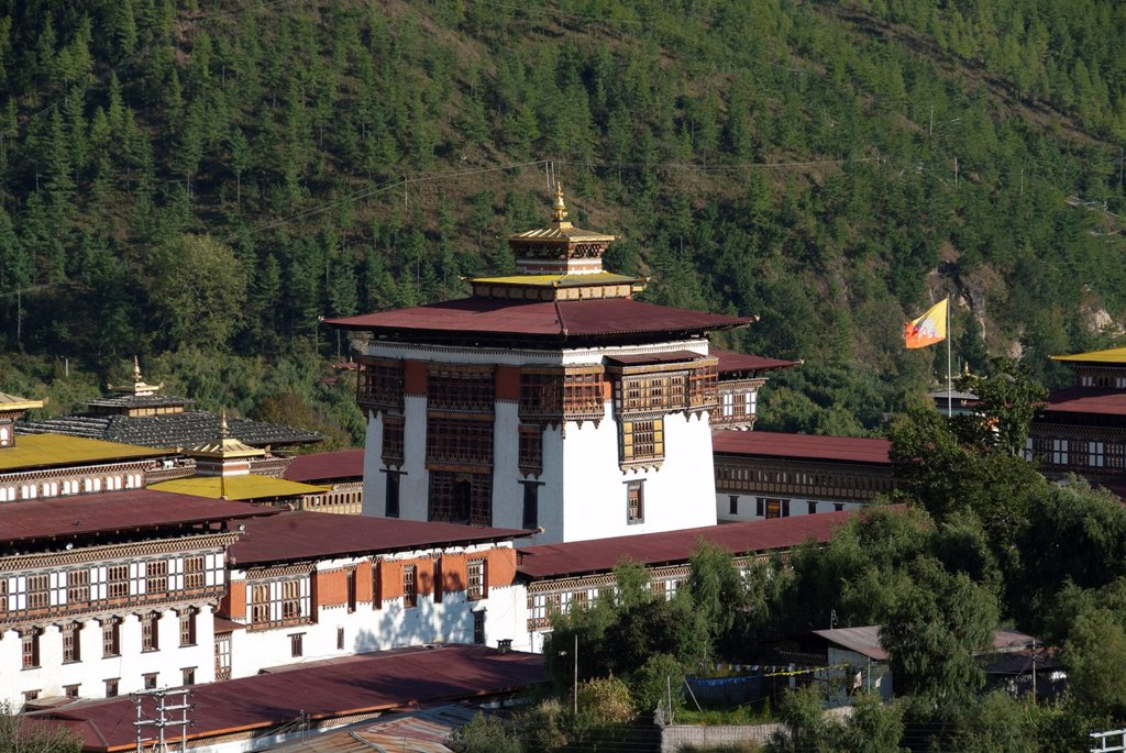 Stock Photo: 1848-722442 Central building of the Fortress Monastery of Trashi Chhoe Dzong, seat of government, Thimphu, capital city, Kingdom of Bhutan, South Asia, Asia