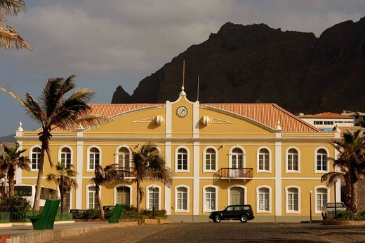 Renovated town hall in Ponta do Sol on Santo Antao Island, Cape Verde, Cape Verde Islands, Africa : Stock Photo