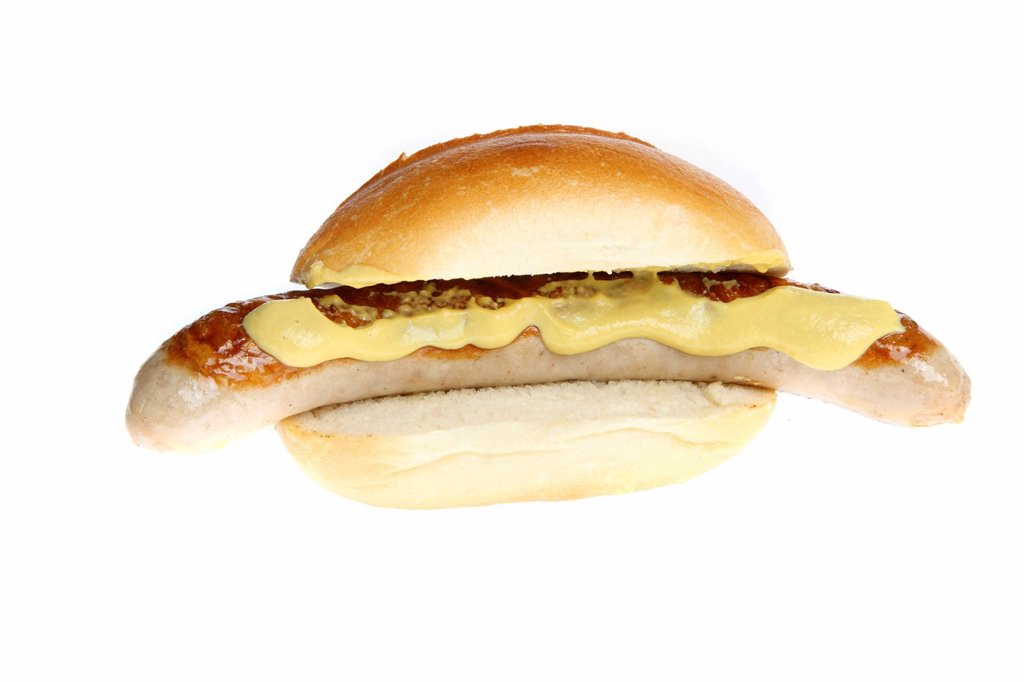 Stock Photo: 1848-722776 Fast food, grilled sausage in a bun with mustard