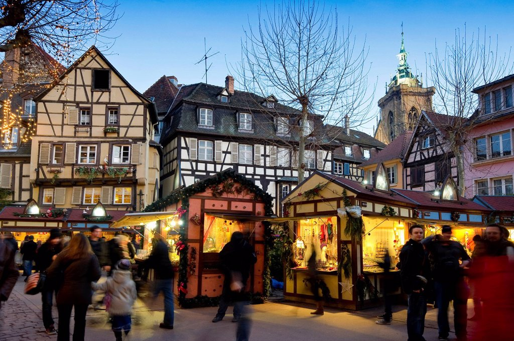 Christmas market, Colmar, Alsace, France, Europe : Stock Photo