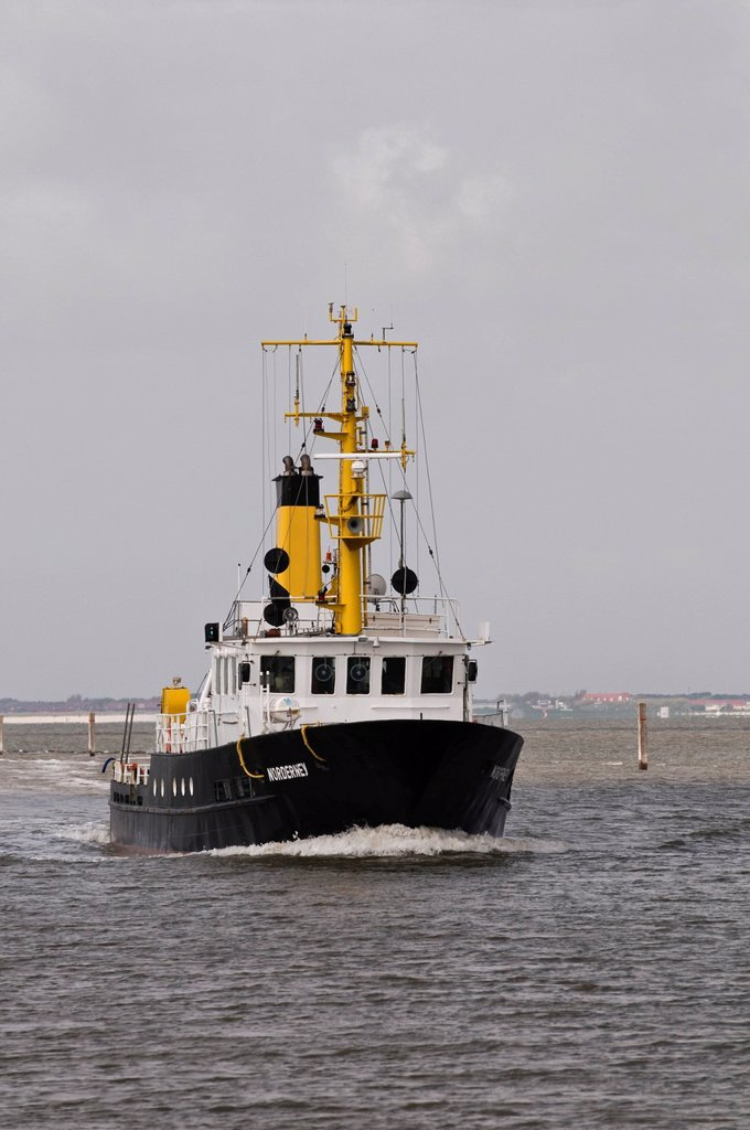 Special survey ship Norderney, for waterway soundings and surveys in the tidal area, North Frisia, Norddeich, Wadden Sea, Lower Saxony, Germany, Europe : Stock Photo