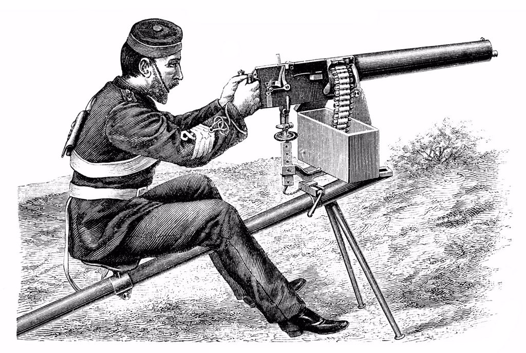 Historical illustration from the 19th Century, depiction of a French machine gun : Stock Photo