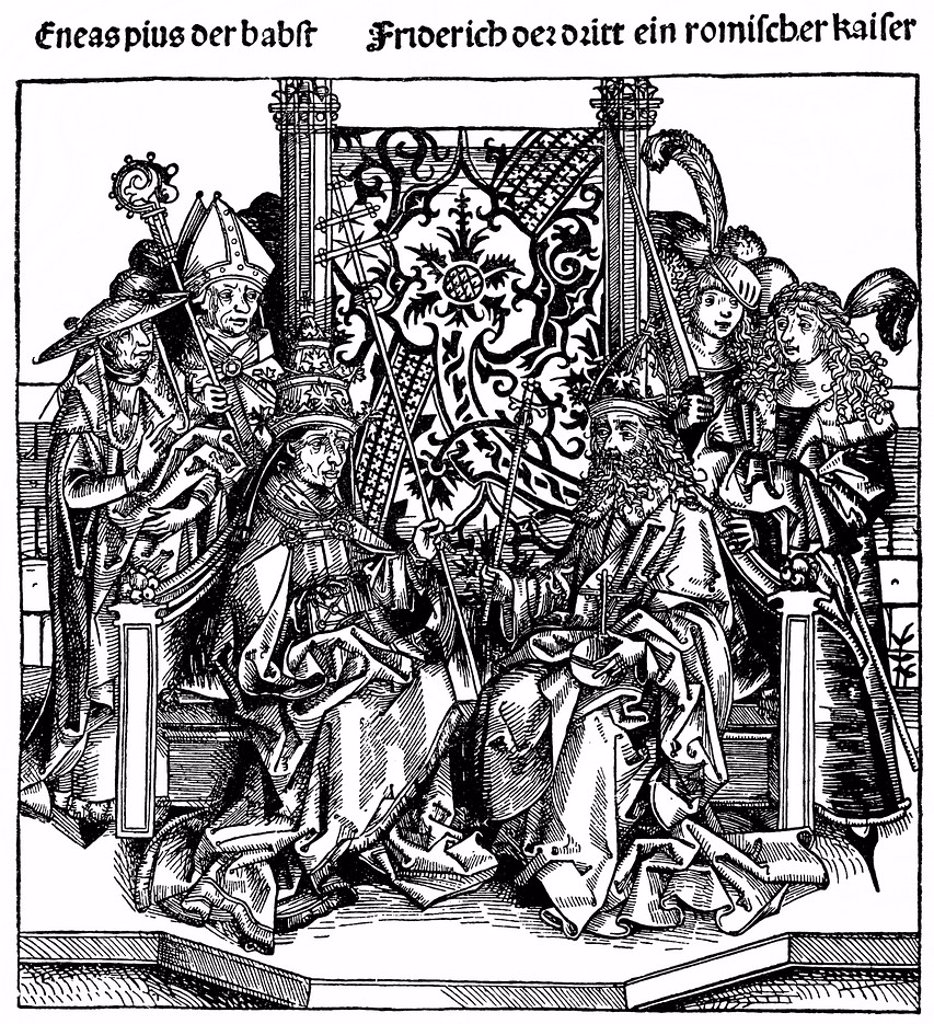 Historical illustration from the 19th Century, Pius II or Enea Silvio Piccolomini, 1405 _ 1464, Pope of the Catholic Church and Frederick III, 1415 _ 1493, Emperor of the Holy Roman Empire : Stock Photo