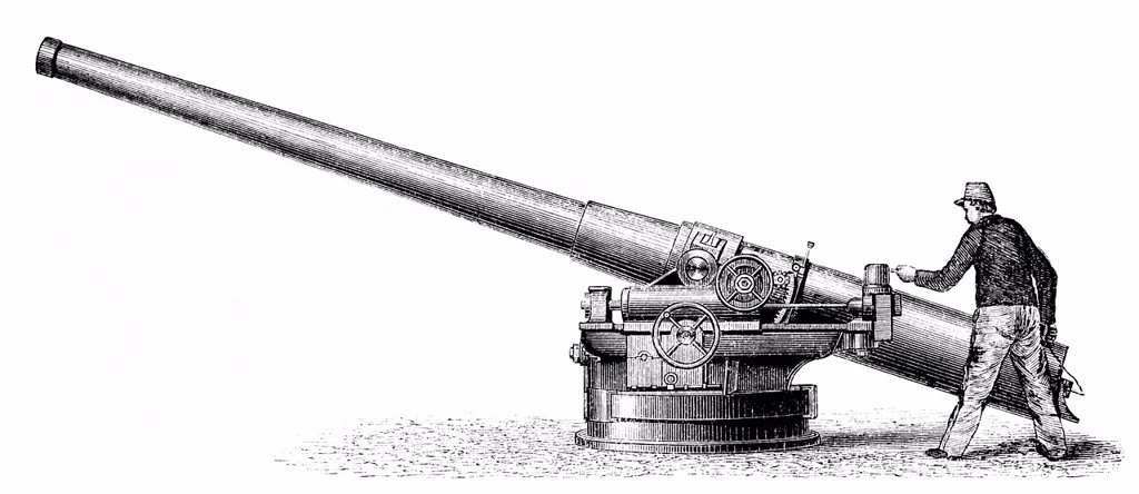 Stock Photo: 1848-723467 Historical illustration from the 19th century, depiction of a French rapid_fire cannon