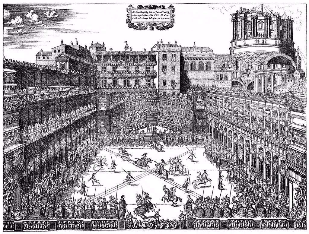 Stock Photo: 1848-723675 Historical illustration from the 19th Century, magnificent tournament in the court of the Papal Palace of Pius IV or Giovanni Angelo Medici, 1499 _ 1565, Pope of the Catholic Church from 1559_1565