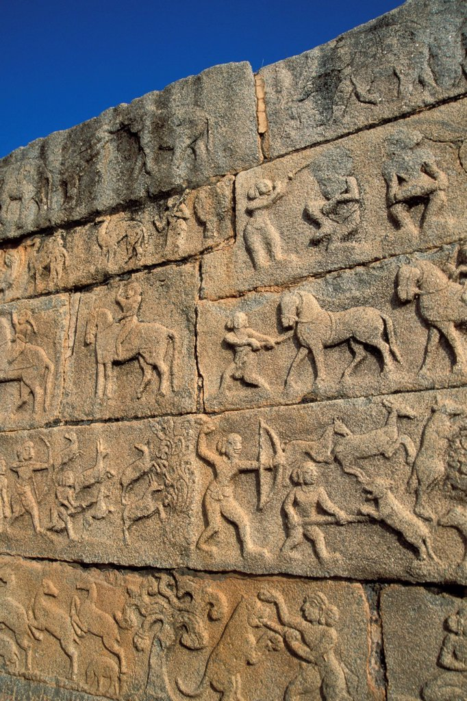 Hunting scenes, relief, Mahanavami Dibba, Royal Enclosure, Hampi, Vijayanagar, Karnataka, South India, India, Asia : Stock Photo