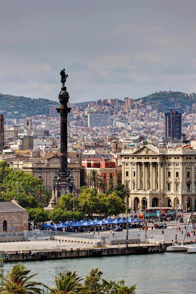 Stock Photo: 1848-723949 Columbus Statue and Port Authority, Barcelona, Catalonia, Spain, Europe, PublicGround