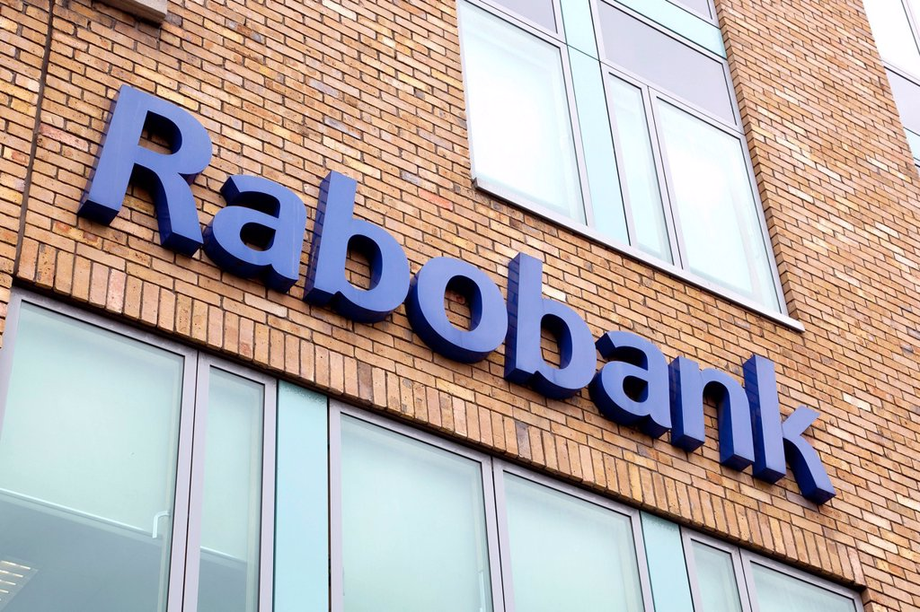 Stock Photo: 1848-723982 Logo on a branch of the Dutch cooperative bank Rabobank in Dublin, Ireland, Europe