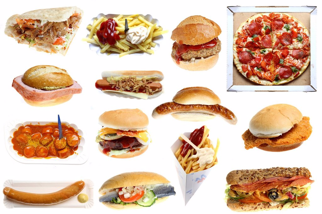 Various fast_food meals, hamburgers, sausages, french fries, pizza, doner kebab, hot dogs, schnitzel sandwiches, sausage with curry powder, fish rolls : Stock Photo