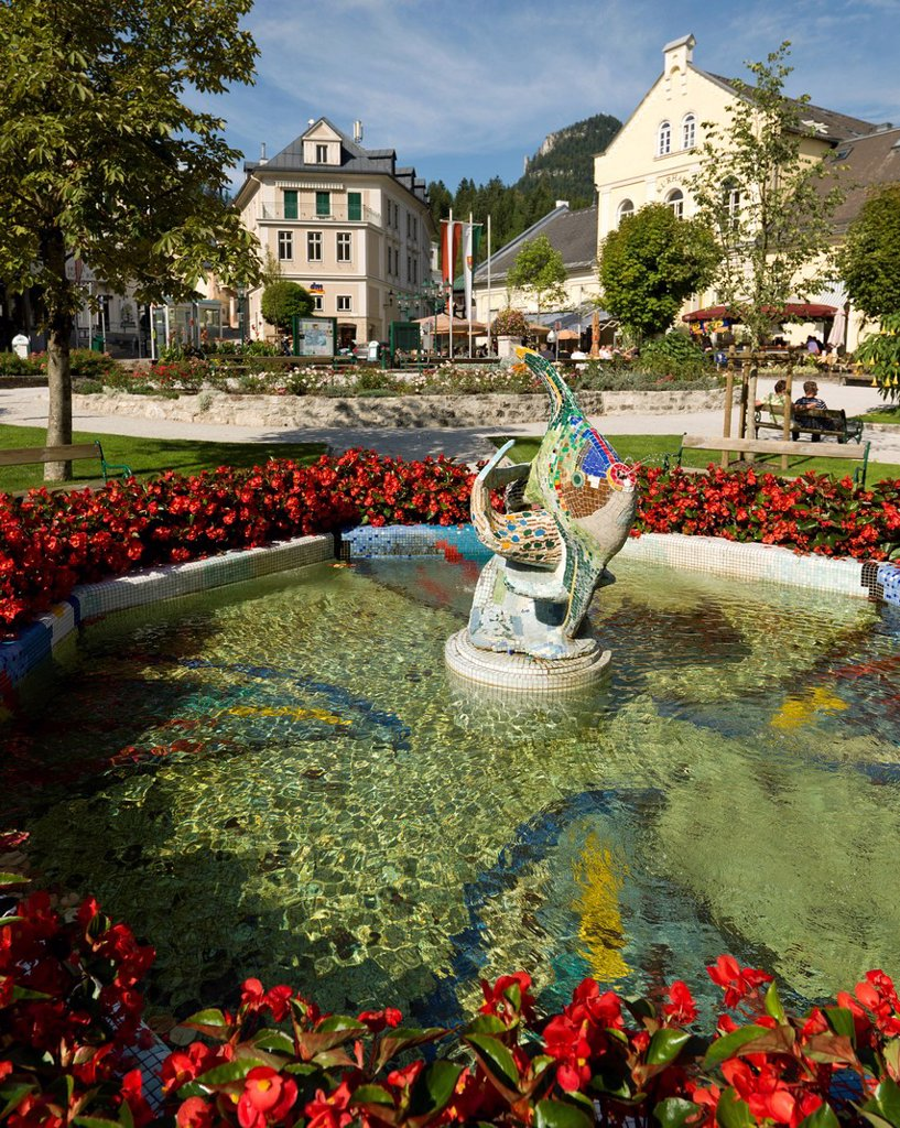 Stock Photo: 1848-724075 Fish fountain in Bad Aussee, Ausseerland region, Styria, Austria, Europe