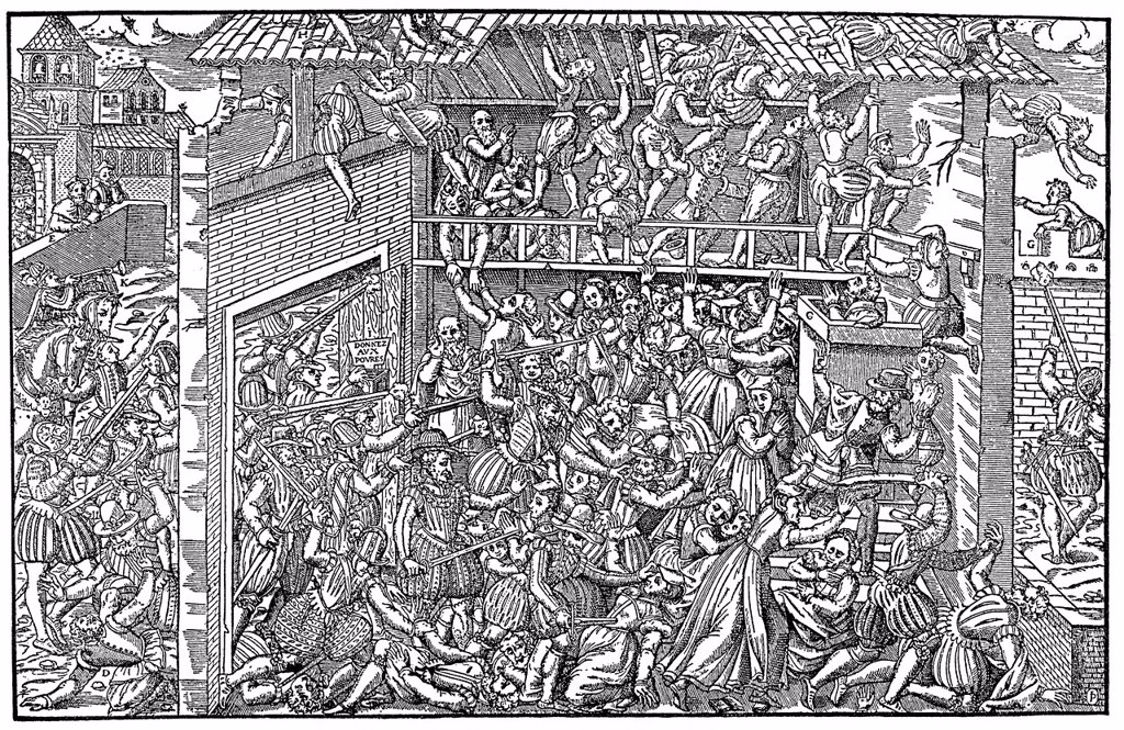 Stock Photo: 1848-724206 Historical illustration from the 19th Century, depiction of the Massacre of St. Bartholomew´s Eve or the Parisian Blood Wedding, 1572, where by order of Catherine de Medici thousands of Huguenots were murdered
