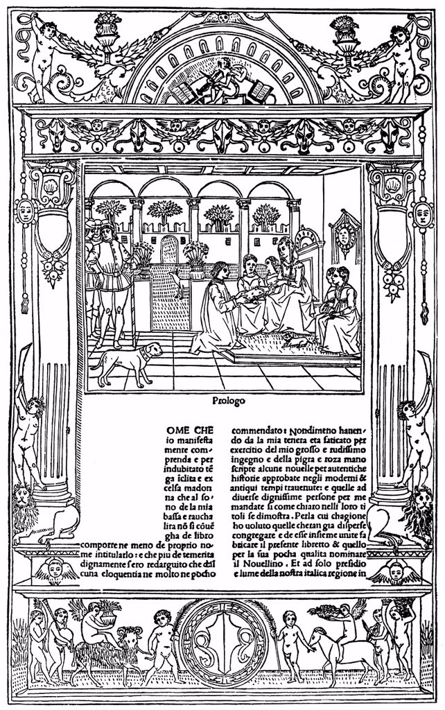 Stock Photo: 1848-724225 Historical illustration from the 19th Century, the first page of Novellino, Renaissance novellas from Naples and southern Italy by Masuccio Salernitano or Tommaso Guardati from Salerno, ca. 1410 _ after 1475, an Italian writer