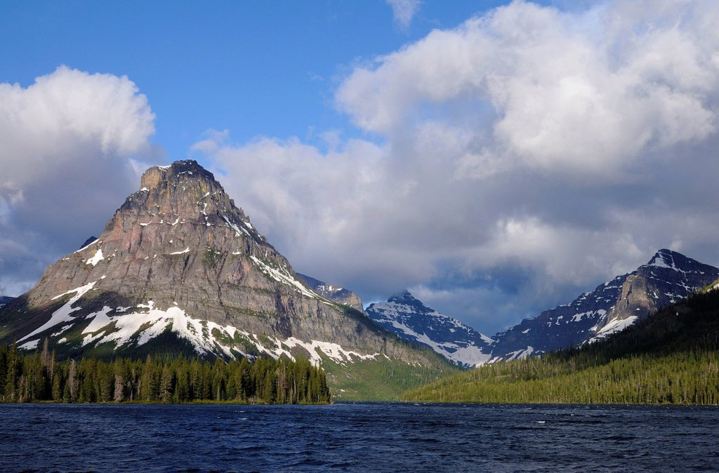 Stock Photo: 1848-724311 Sinopah Mountain, Two Medicine Mountain Lake, Glacier National Park, Rocky Mountains, Montana, USA