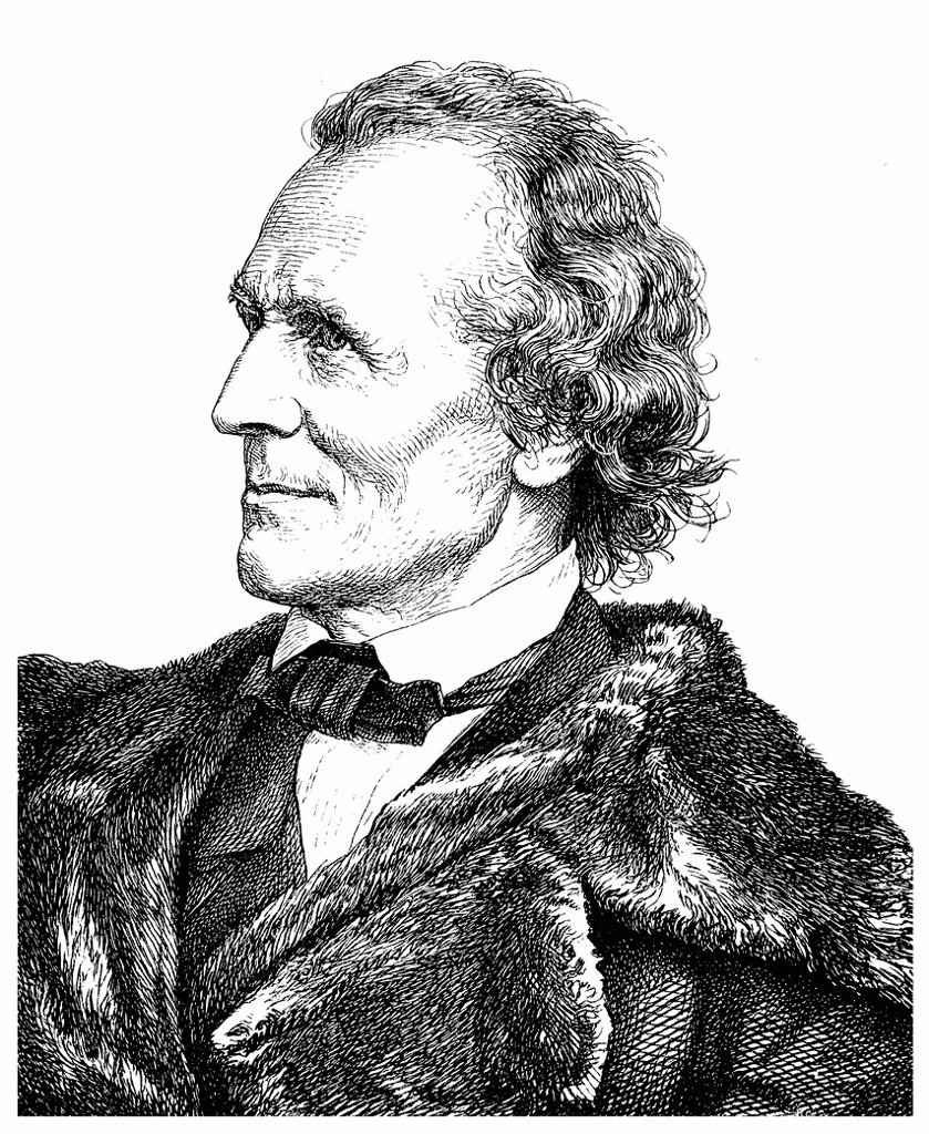 Stock Photo: 1848-724341 Historical illustration from the 19th century, portrait of Julius Schnorr von Carolsfeld, 1794 _ 1872, painter and director of the Dresden Picture Gallery