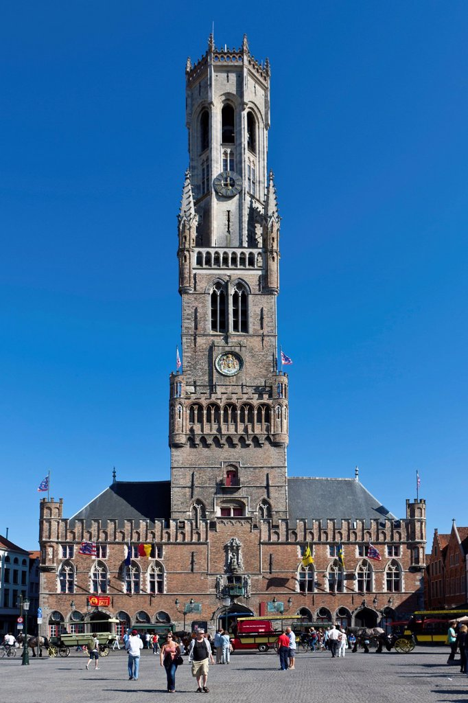 Belfort belfry or bell tower, Grote Markt market square, historic town centre of Bruges, UNESCO World Heritage Site, West Flanders, Flemish Region, Belgium, Europe : Stock Photo