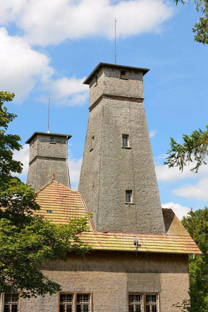 Salt drilling towers, Alte Saline saltworks, Bad Duerrheim, Black Forest, Baden_Wuerttemberg, Germany, Europe : Stock Photo