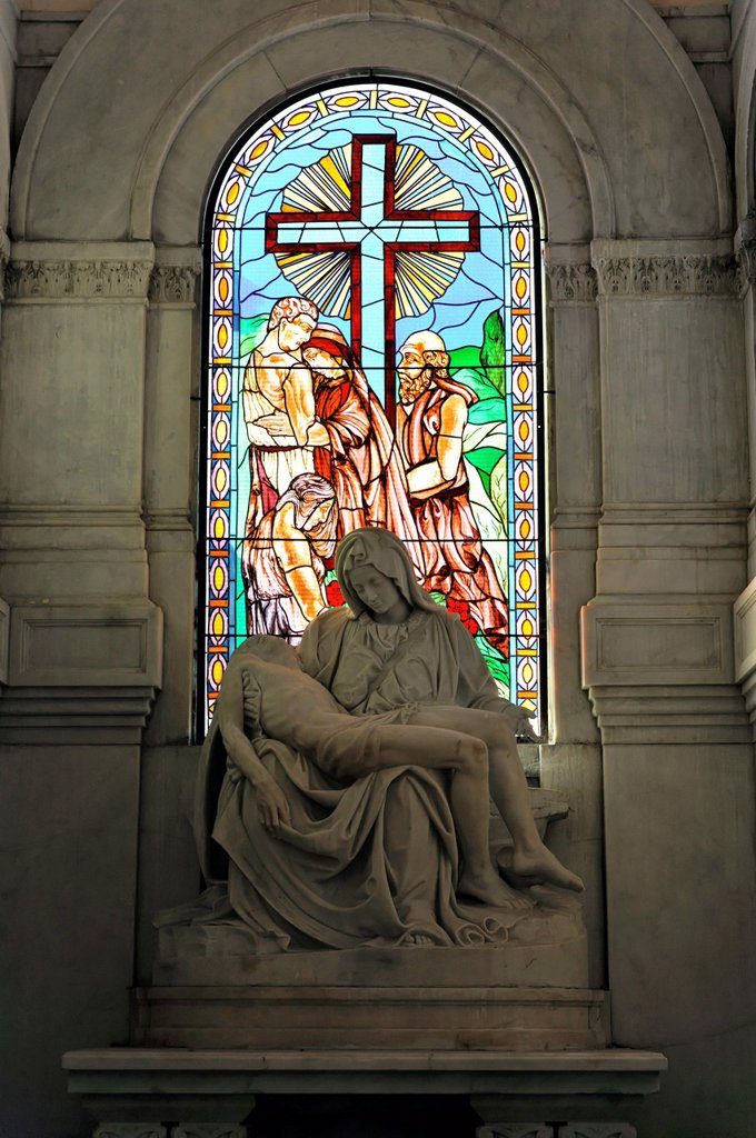 Stock Photo: 1848-724715 Stained glass window, colourful window in the mausoleum, church on the Cementerio de Cristóbal Colón, Christopher Columbus Cemetery, 56_ha cemetery, Havana, Cuba, Greater Antilles, Caribbean, Central America, America