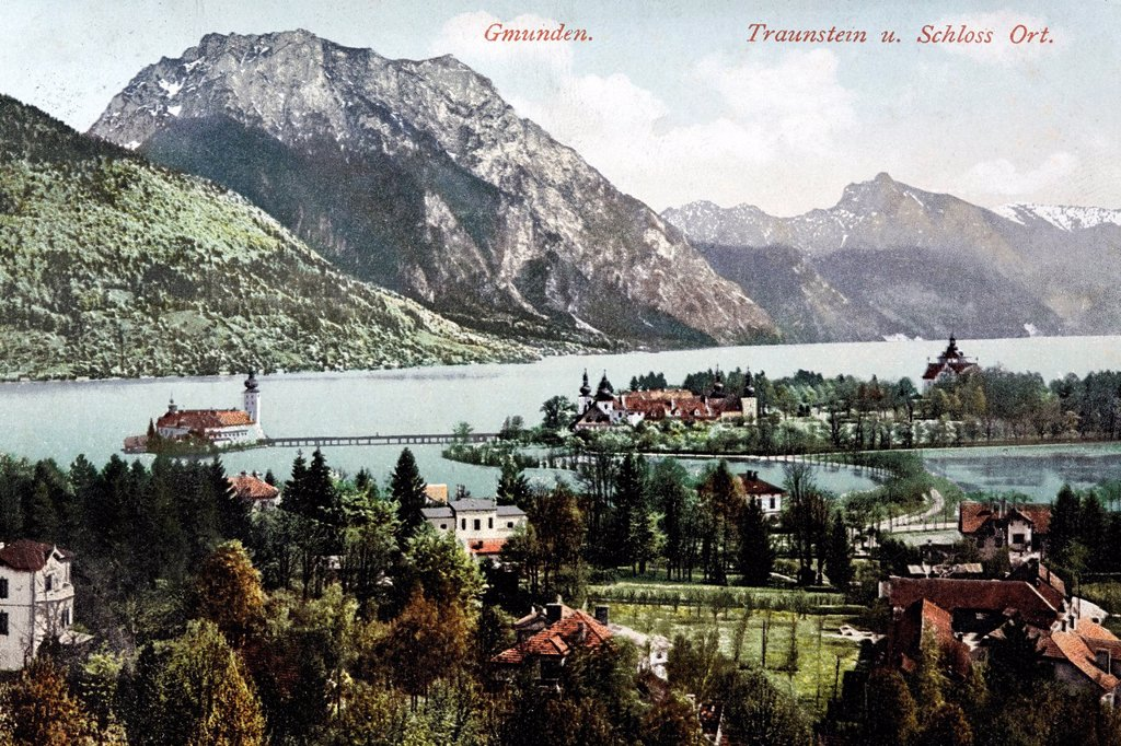 Traunsee Lake with Schloss Orth Castle, Upper Austria, Austria, historical postcard, circa 1900 : Stock Photo