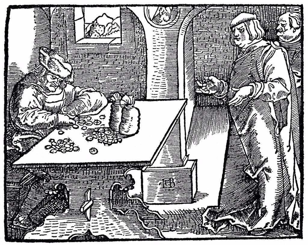 Stock Photo: 1848-724940 Historical illustration from the 19th century, moneylender and usurer in the 16th century