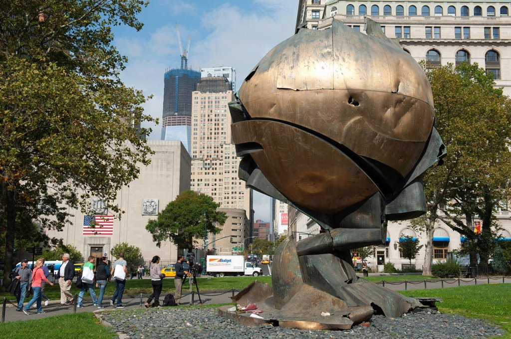 Stock Photo: 1848-725088 9_11 memorial, The Sphere bronze sculpture damaged during the attacks of the World Trade Center, Battery Park, New York City, USA, North America, America