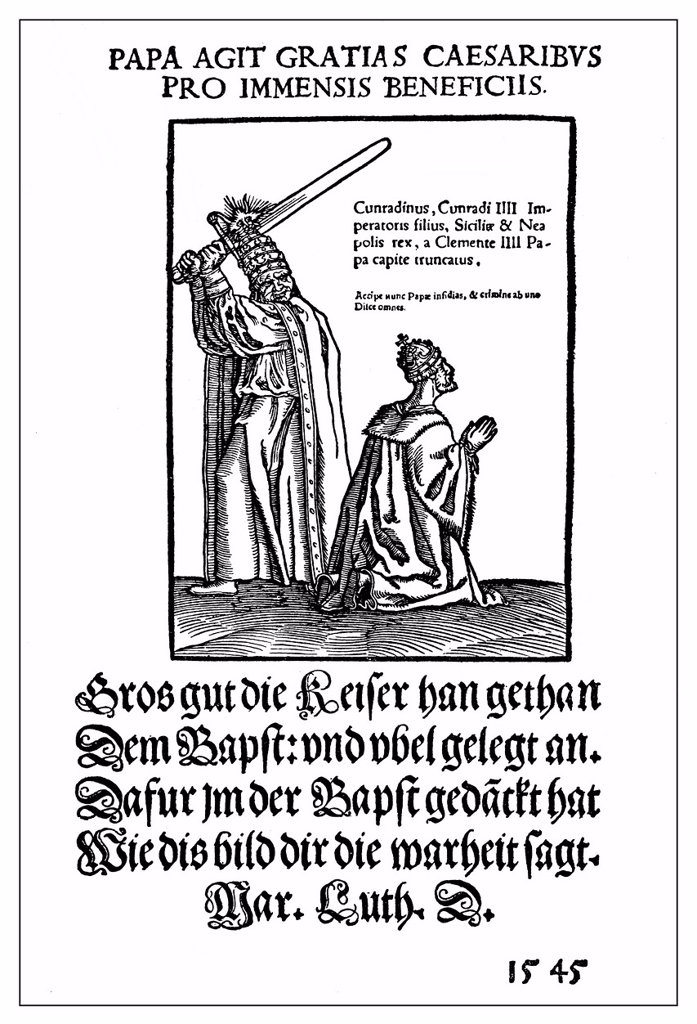 Stock Photo: 1848-726062 Historical satirical pamphlet on the papacy from 1545, the Pope beheading the emperor, from Lucas Cranach and Martin Luther