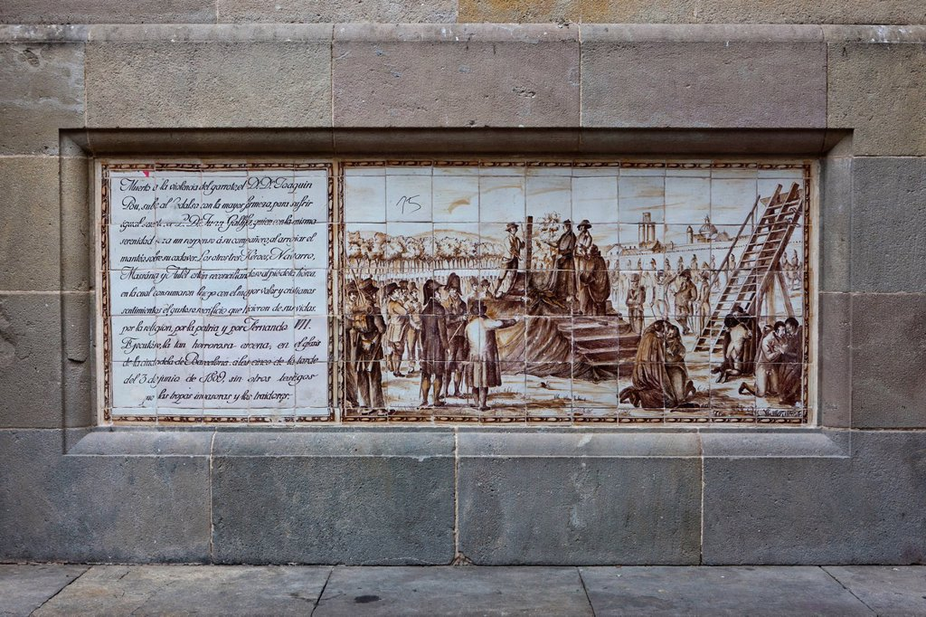 Stock Photo: 1848-726123 Painting on Plaça de Sant Felip Neri square, Gothic Quarter, Barri Gòtic, Barcelona, Catalonia, Spain, Europe, PublicGround