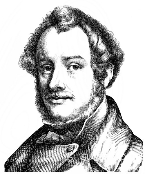 Stock Photo: 1848-726155 Historical illustration from the 19th Century, portrait of Ludwig Michael von Schwanthaler, 1802 _ 1848, a German sculptor of the classical scupture