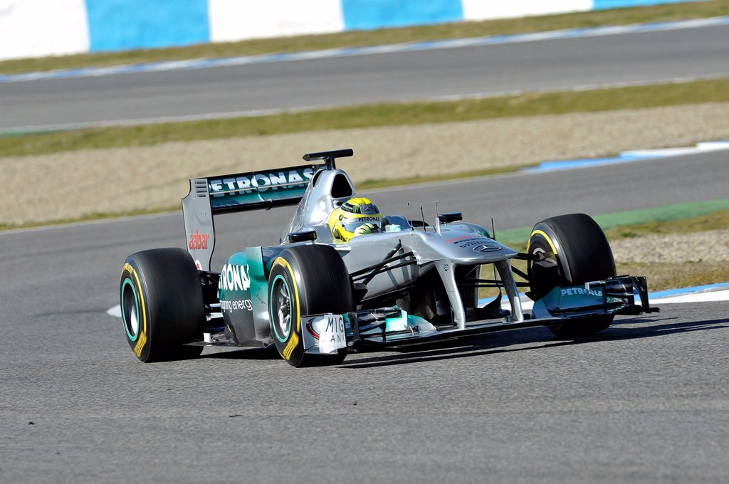 Stock Photo: 1848-726186 Nico Rosberg, GER, MercedesGP F1 Team during the first Formula One testing sessions for the 2012 season in Jerez, Spain, Europe