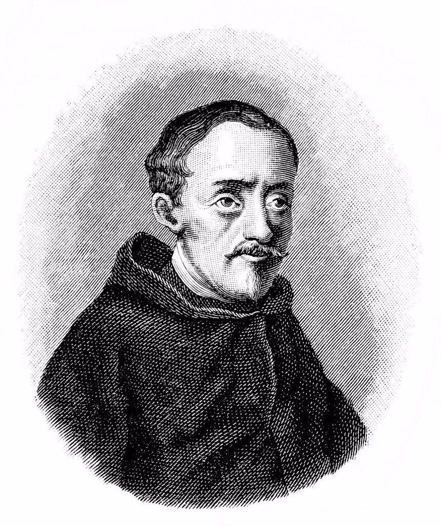 Historical illustration from the 19th Century, portrait of Paolo Sarpi, 1552 _ 1623, an Italian monk and historian : Stock Photo