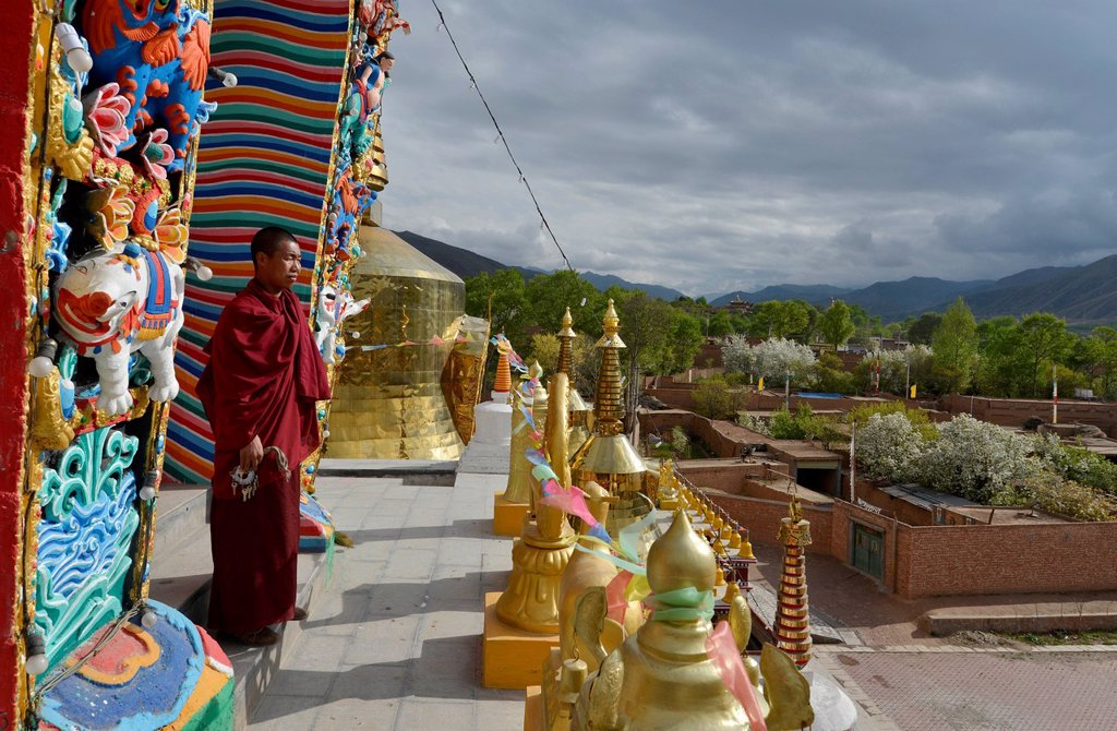 Stock Photo: 1848-726479 Tibetan Buddhist monk on a new painted and gilded chorten, stupa at the Wutun Si Monastery, Tongren, Repkong, Qinghai, formerly Amdo, Tibet, China, Asia