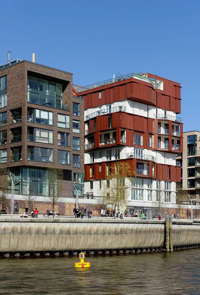 Stock Photo: 1848-726675 Modern residential and office buildings at Dalmannkai, Grasbrookhafen, HafenCity, Hamburg, Germany, Europe
