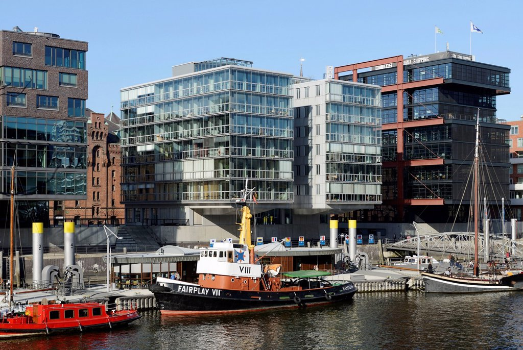 Stock Photo: 1848-726680 Sailing ship and tug Fairplay VIII in the historic harbor, modern residential and office buildings, Sandtorkai, Sandtorhafen, Harbour City, Hamburg, Germany, Europe