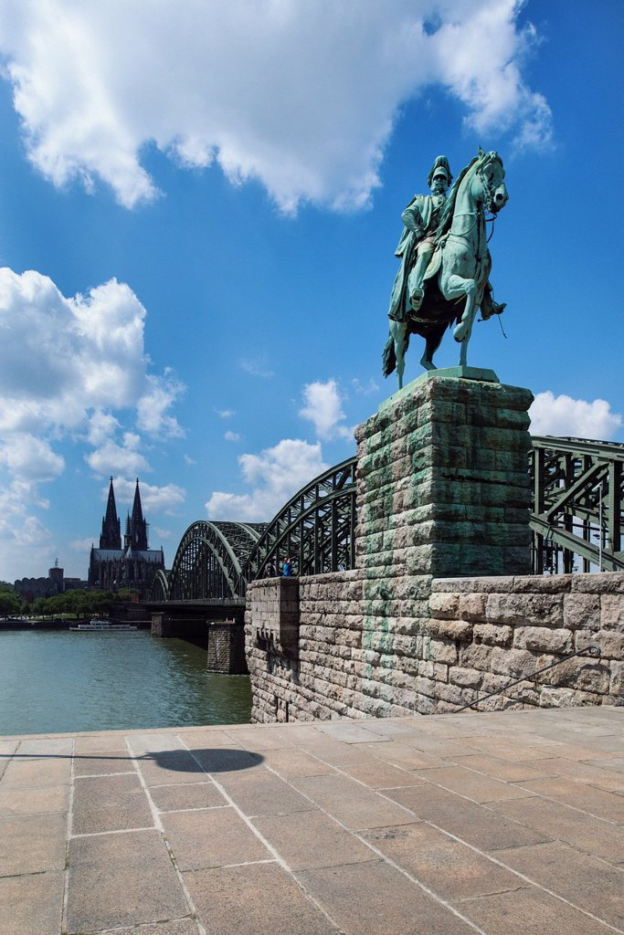 Stock Photo: 1848-726813 View from Cologne Deutz with the equestrian statue of Emperor Wilhelm I of Prussia towards Hohenzollern Bridge, Cologne Cathedral and Museum Ludwig, Cologne, North Rhine_Westphalia, Germany, Europe