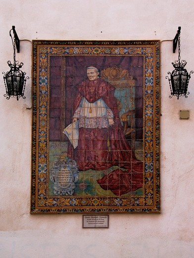 Picture of Cardinal Spinola on elaborate ceramics, outer wall of a church in Seville, Andalusia, Spain, Europe : Stock Photo