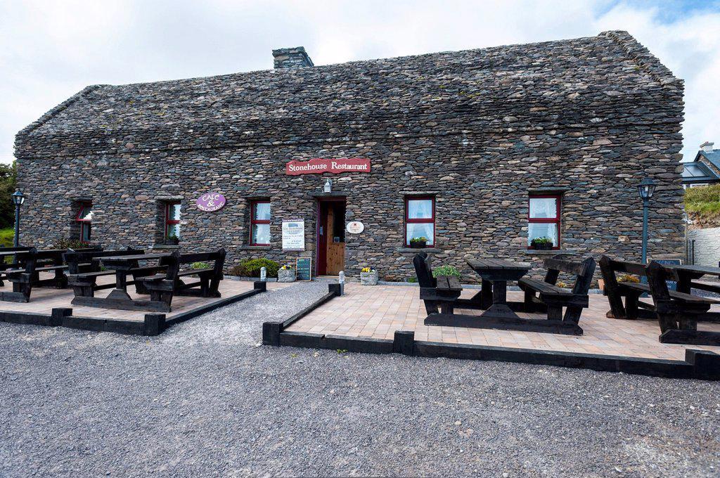 Stone house, Stonehouse Restaurant, Dingle Peninsula, County Kerry, Republic of Ireland, Europe : Stock Photo