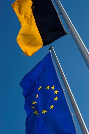 European and Baden_Wuerttemberg flag fluttering in the wind under a blue sky, Germany, Europe : Stock Photo