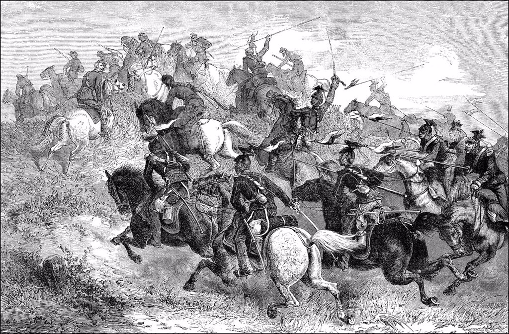 Historical drawing, attack of the Prussian Uhlans on Chasseurs d´Afrique, Franco_Prussian War or Franco_German War, 1870_71 : Stock Photo