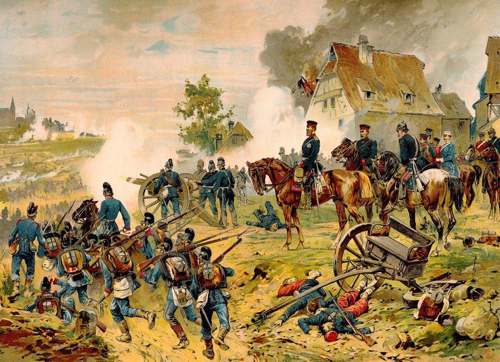 Stock Photo: 1848-727715 Historical drawing, Battle of Weissenburg, 4 August 1870, near Weissenburg in Alsace, France, Franco_Prussian War or Franco_German War, 1870_71