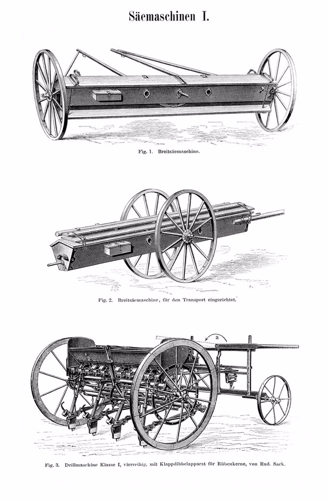Stock Photo: 1848-727792 Sowing machines, historic image, Meyers Konversations_Lexikon encyclopedia, 1897