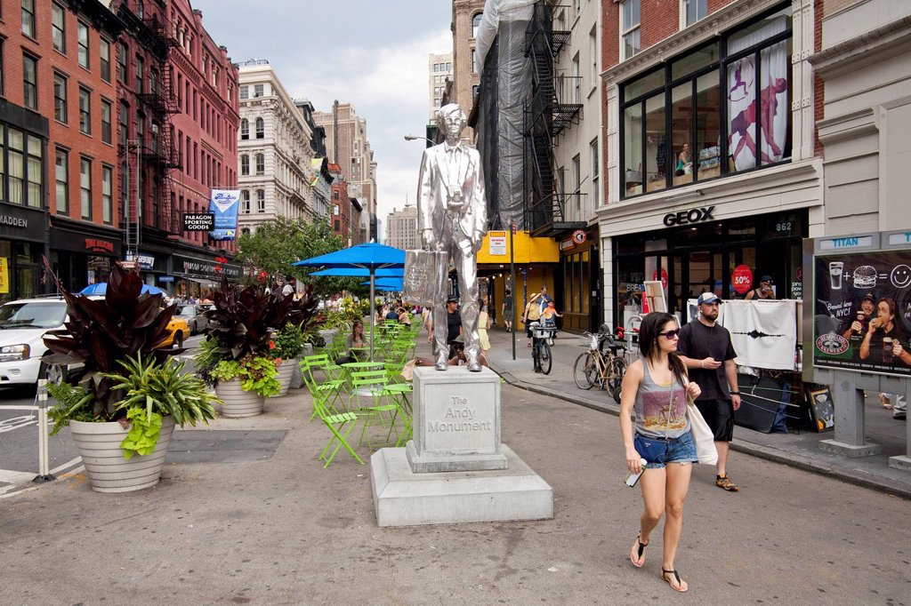 Stock Photo: 1848-728073 Andy Warhol Monument, Broadway, Union Square, New York City, USA