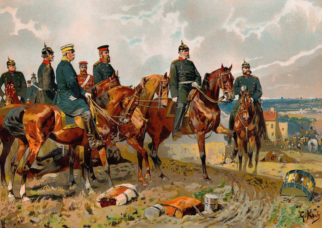 Stock Photo: 1848-728164 Historical drawing, Wilhelm I or William I, 1797_1888, from the House of Hohenzollern, king of Prussia and first German emperor, on horseback with Bismarck, Moltke and Roon in the Franco_Prussian War or Franco_German War, 1870/71