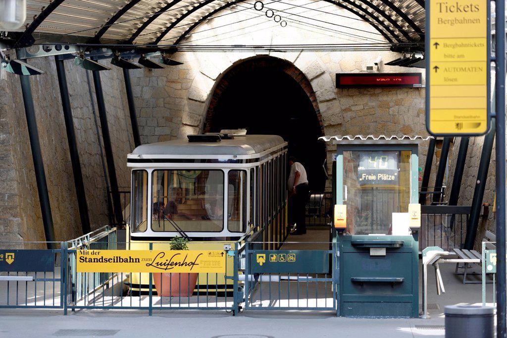 Valley station, funicular railway, Loschwitz, Dresden, Saxony, Germany, Europe : Stock Photo
