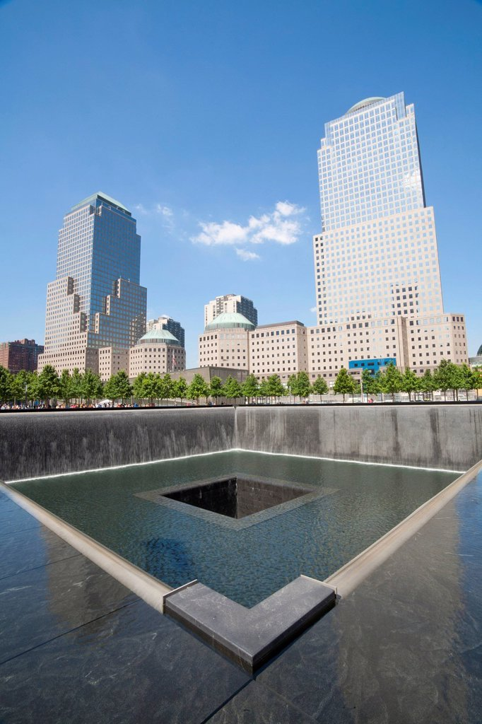 Stock Photo: 1848-728534 9_11 Memorial, North Pool, World Trade Center Site, Downtown Manhattan, New York City, USA