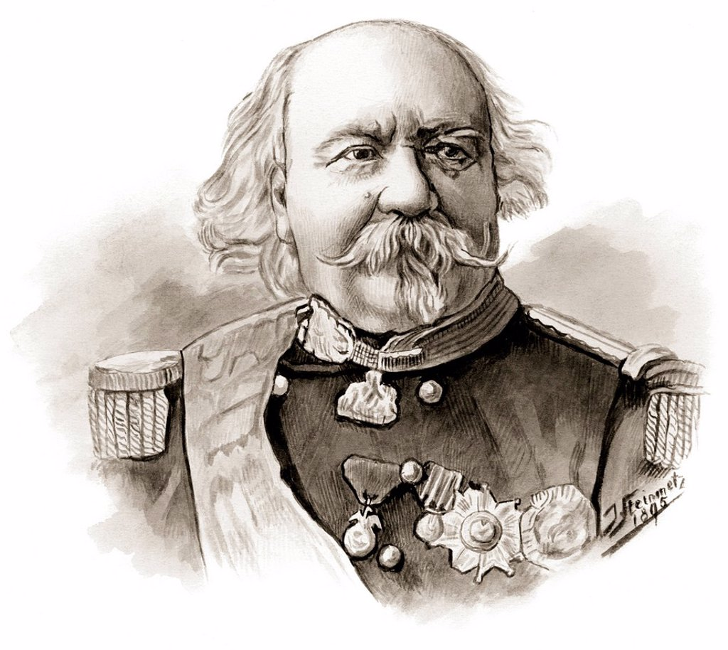 Historical drawing, portrait of François_Marcellin Certain de Canrobert, 1809_1895, marshal of France in the Franco_Prussian War or Franco_German War, 1870/71 : Stock Photo