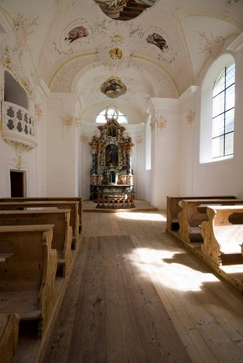 Interior of an alp chapel, Stams alp, Stams, Tyrol, Austria, Europe : Stock Photo