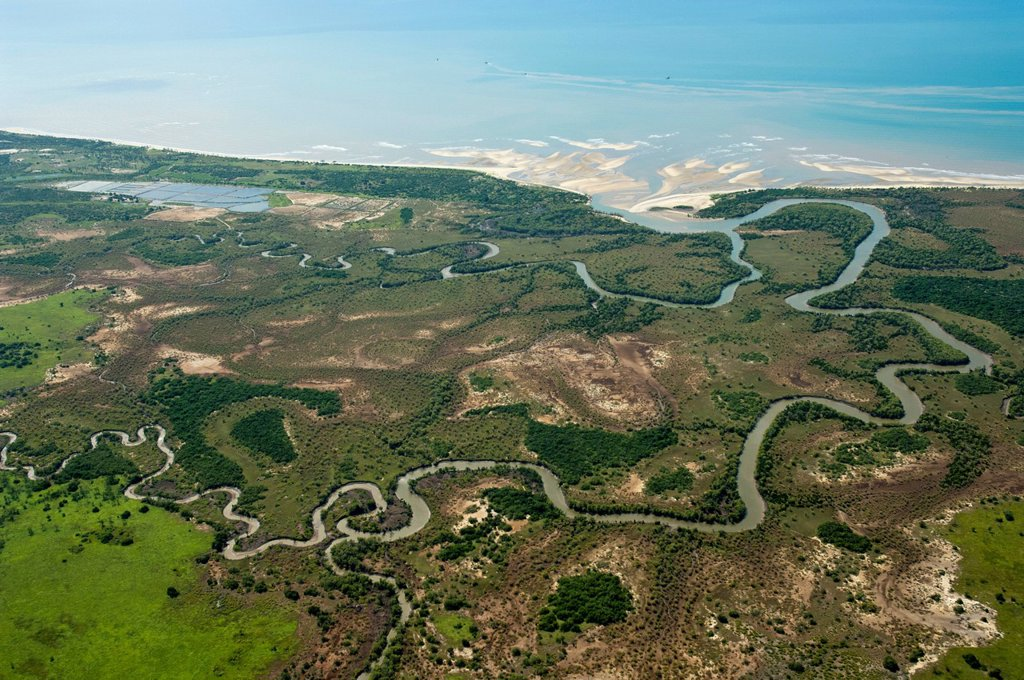 Aerial view, mouth and meanders of the Wami river north of Bagamoyo, Pwani Region, Tanzania, Africa : Stock Photo