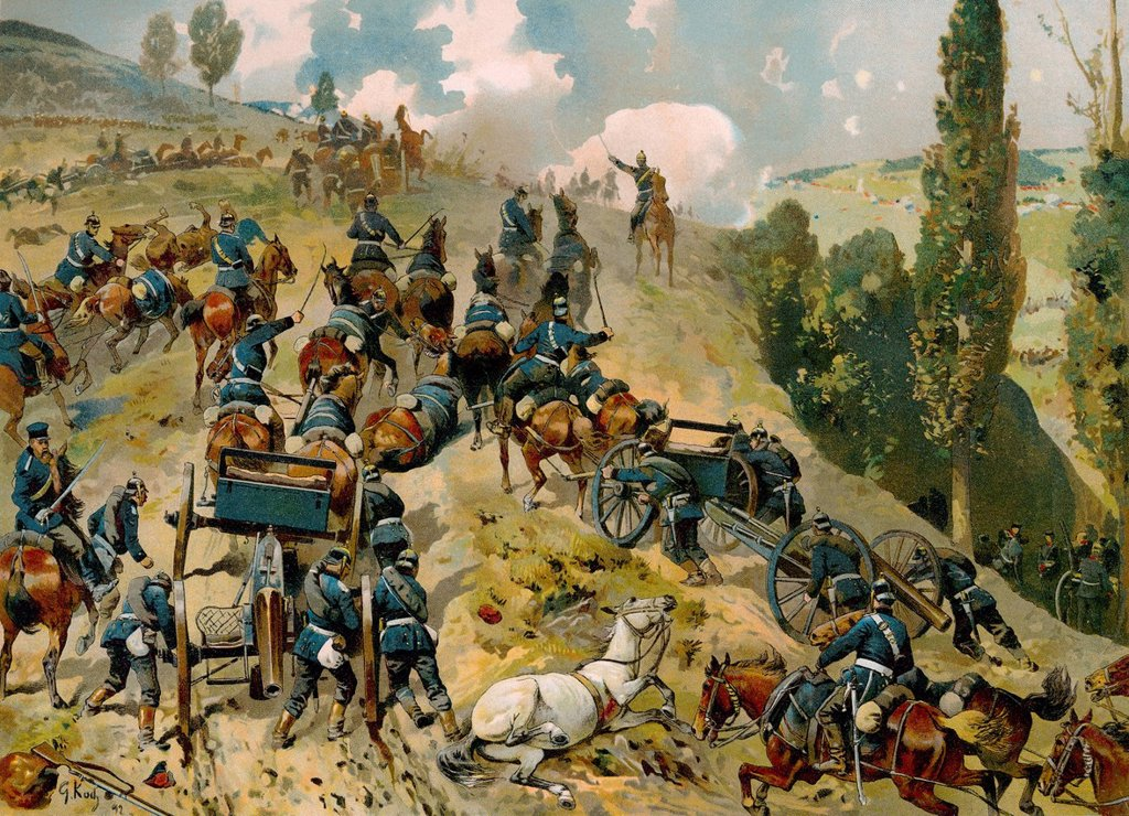 Stock Photo: 1848-729383 Historical drawing, Battle of Spicheren or Battle of Forbach, 6 August 1870, Franco_Prussian War or Franco_German War 1870_1871, between the French Empire and the Kingdom of Prussia